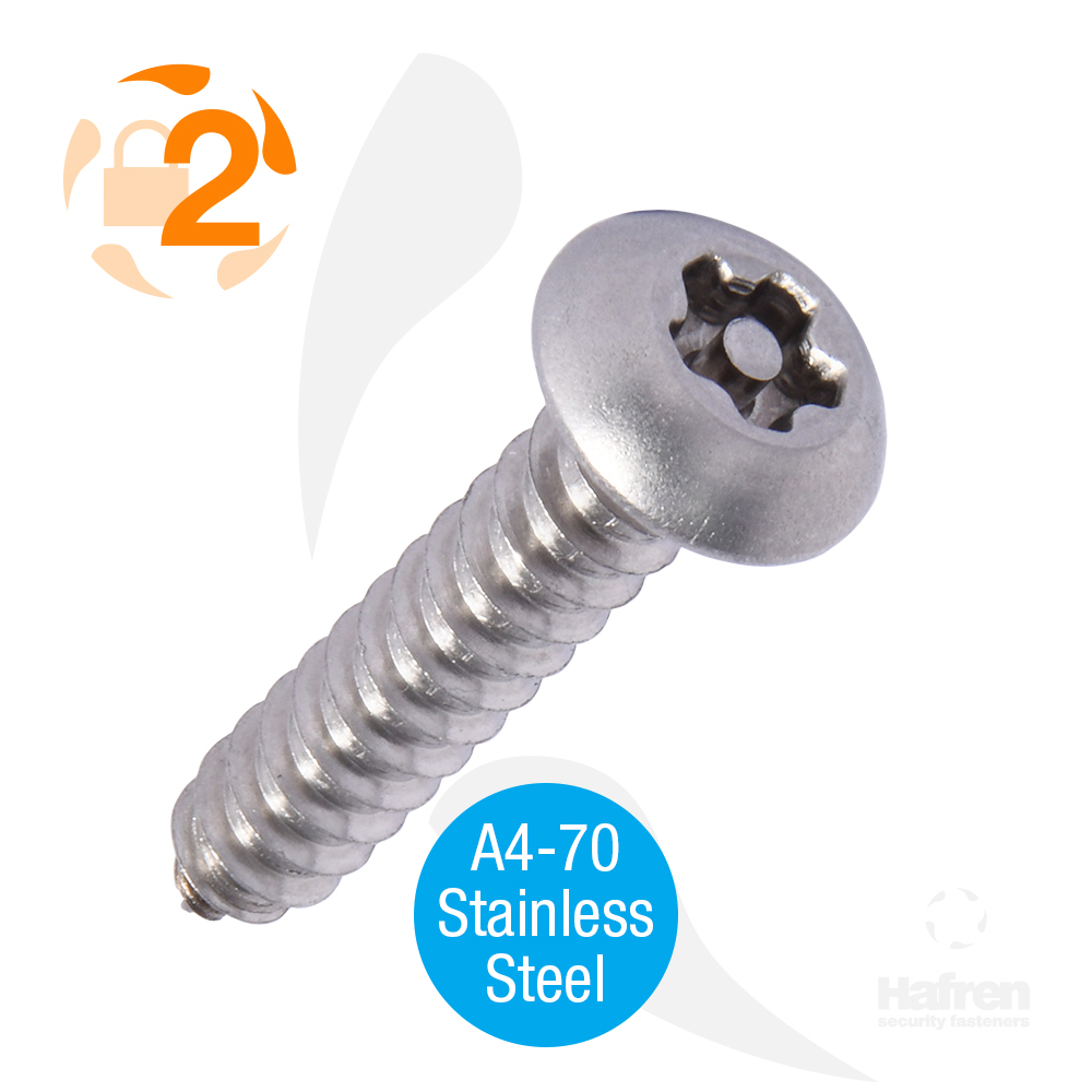"6 x 1/2"" (3,5 x 13mm) Button Head A4-70 Stainless Steel 5-Lobe Pin Self Tapper"