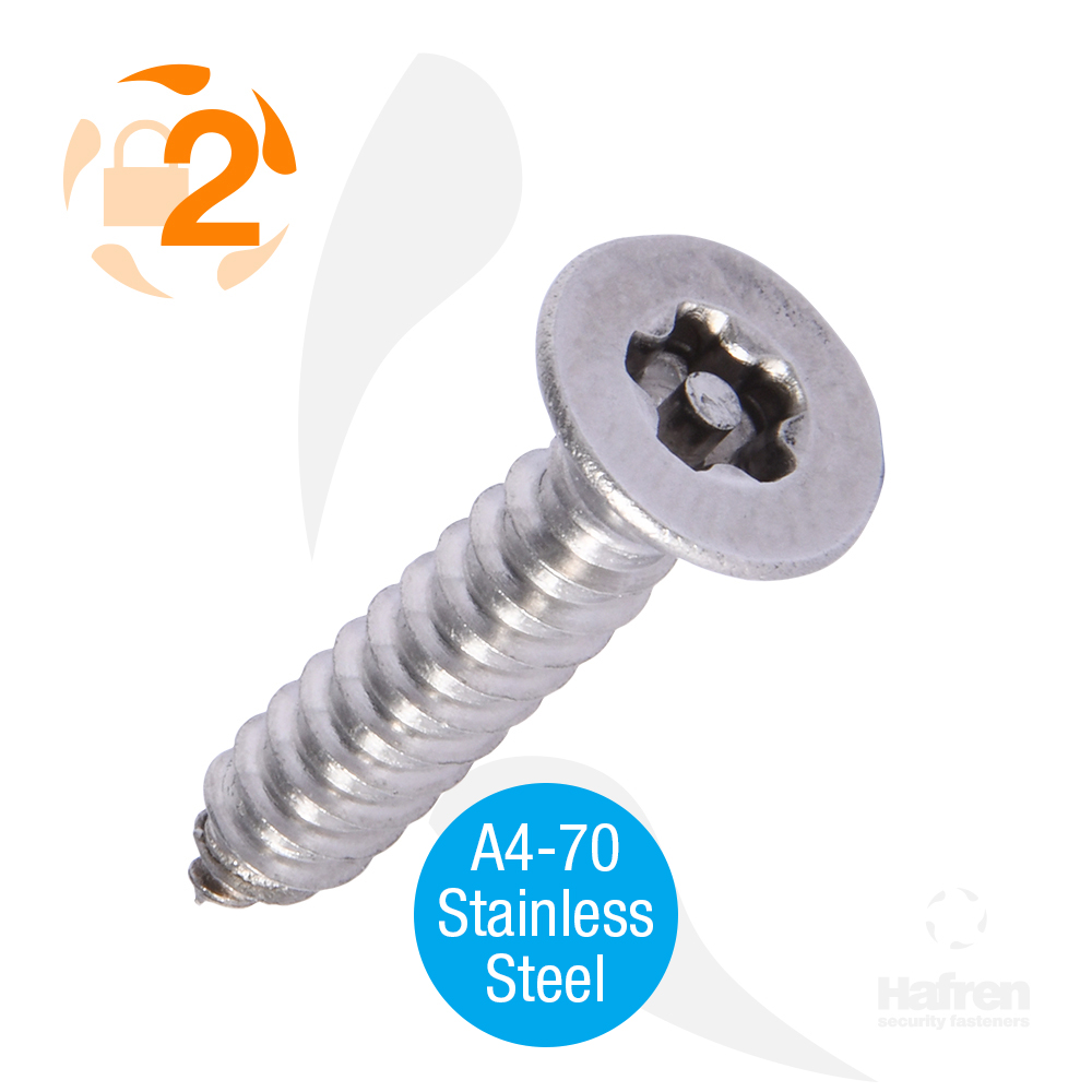 "6 x 1/2"" (4.8 x 13mm) Countersunk A4-70 Stainless Steel 5-Lobe Pin Self Tapper"