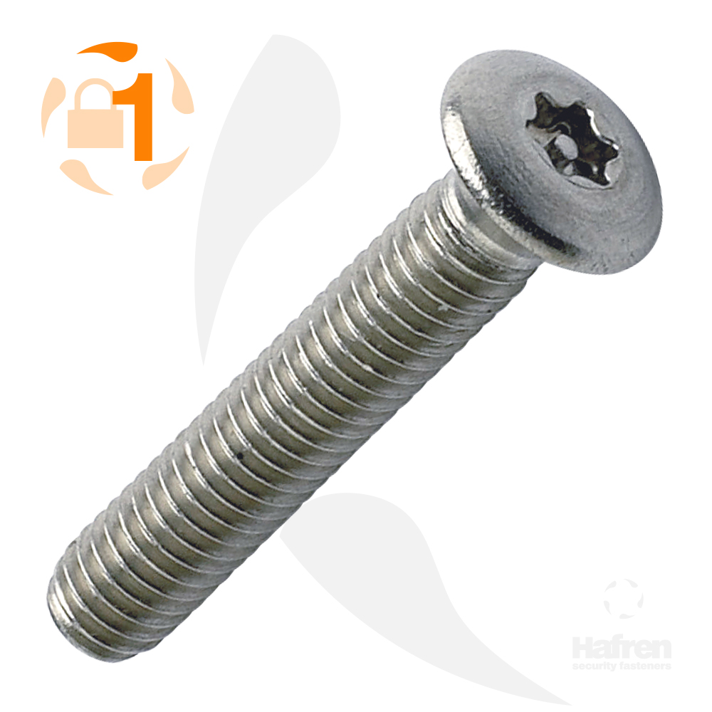 M3.5 x 12mm Raised Countersunk A2 Stainless Steel 6-Lobe Pin Machine Screw