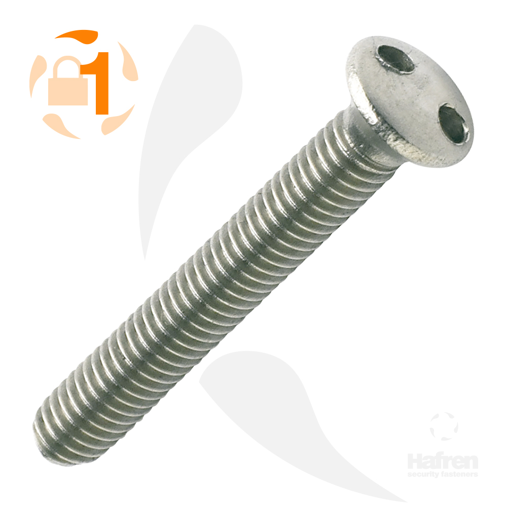 M3.5 x 12mm Raised Countersunk A2 Stainless Steel 2-Hole Machine Screw